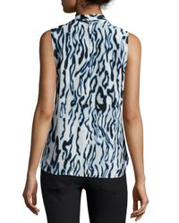 Equipment - Blue Poppy Sleeveless Tie-neck Blouse - Lyst