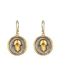 Satya Jewelry   Black 'hamsa' Drop Earrings   Lyst