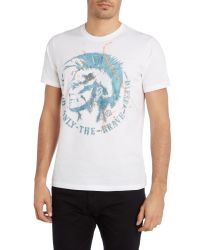DIESEL - White Graphic Crew Neck Regular Fit T-shirt for Men - Lyst