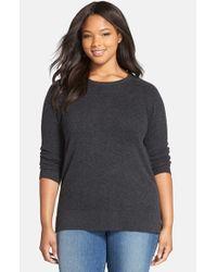 Halogen | Gray Cashmere Crewneck Sweater | Lyst