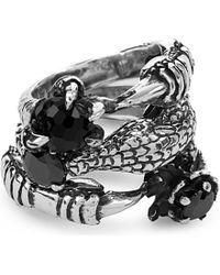 KD2024 | Metallic Set Of Three Caiman Sterling Silver And Onyx Ring | Lyst