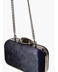 Mango | Blue Leather Fur Clutch | Lyst