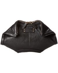 Alexander McQueen - Black Britannia Skull-Embellished Leather Clutch - Lyst
