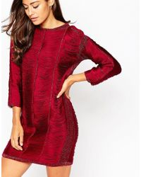 ASOS | Red Jumper Dress With Fringe Detail | Lyst