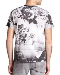 DIESEL - Black Skull & Rose Geometric-print Cotton Tee for Men - Lyst