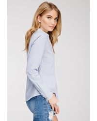 Forever 21 - Blue Contemporary Striped Shirt - Lyst