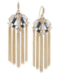 Carolee | Metallic Gold-tone Crystal Chain Tassel Earrings | Lyst