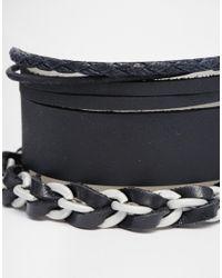 ASOS | Leather Bracelet Pack In All Black for Men | Lyst