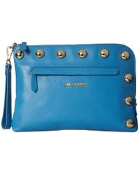 Love Moschino | Blue Saffiano Faux-leather Clutch Bag | Lyst