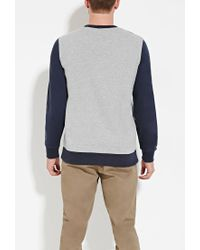 Forever 21 - Blue Colorblocked French Terry Sweatshirt for Men - Lyst