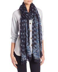 Saint Laurent | Blue Bandana-print Cashmere & Silk Scarf | Lyst