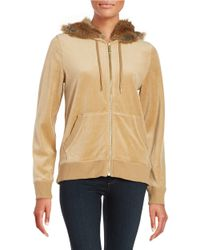 MICHAEL Michael Kors | Natural Faux Fur-lined Hooded Zip-up | Lyst