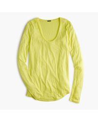 J.Crew - Green Drapey Long-sleeve Scoopneck T-shirt - Lyst