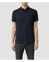 AllSaints | Blue Waycross Short Sleeved Shirt Usa Usa for Men | Lyst