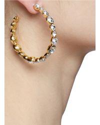 Kenneth Jay Lane - Metallic Crystal Embellished Hoop Earrings - Lyst