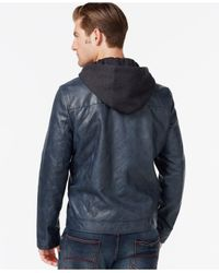 Kenneth Cole | Blue Hooded Quilted Bomber Jacket for Men | Lyst