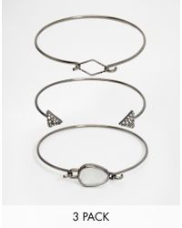 Pieces | Metallic Bianca Multipack Bracelets | Lyst