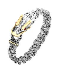 John Hardy | Metallic Naga Silver & 18k Gold Small Dragon Head Bracelet for Men | Lyst