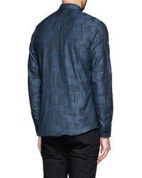 Givenchy - Blue Robot Component Print Poplin Shirt for Men - Lyst