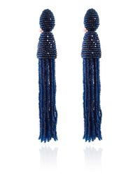 Oscar de la Renta | Blue Short Beaded Tassel Earring | Lyst