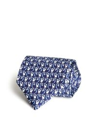 Ferragamo | Blue Elephant And Palm Tree Classic Tie for Men | Lyst