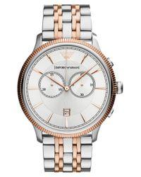 Emporio Armani - Metallic Chronograph Bracelet Watch - Lyst