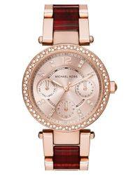 MICHAEL Michael Kors | Purple Michael Kors 'parker' Chronograph Bracelet Watch | Lyst
