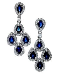 Macy's | Blue Sapphire (2 Ct. T.w.) And Diamond (3/4 Ct. T.w.) Drop Earrings In 14k White Gold | Lyst