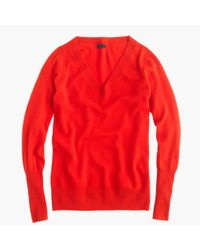 J.Crew - Red V-Neck Cashmere Sweater - Lyst