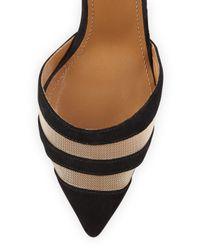 Aquazzura - Black Ankle-Tie Suede and Mesh Pumps - Lyst