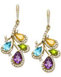 Macy's - Multicolor Multi-stone (3-1/2 Ct. T.w.) And Diamond (3/8 Ct. T.w.) Earrings In 14k Gold - Lyst