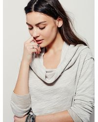 Free People - Gray Shoulder Hugs Long Sleeve Pullover - Lyst