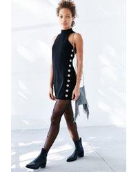 Glamorous - Black Grommet Side Mock-neck Mini Dress - Lyst