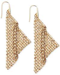 Swarovski | Metallic Gold-Tone Crystal Mesh Drop Earrings | Lyst