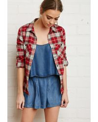 Forever 21 | Red Button-tab Sleeve Plaid Shirt | Lyst