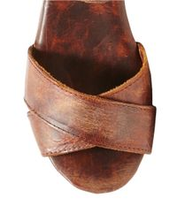 Freebird by Steven | Brown Cape Leather Platform Sandals | Lyst