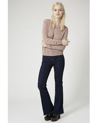TOPSHOP - Pink Fine Gauge Knit Sweater - Lyst