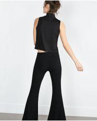 Zara | Black Perkins Scuba Top | Lyst