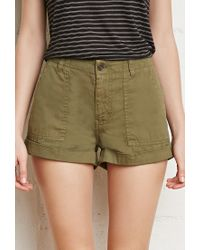 Forever 21 | Green Cuffed-hem Cotton Shorts | Lyst