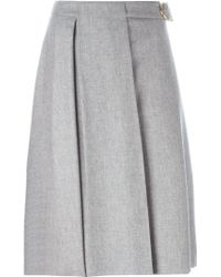 Ferragamo - Gray Pleated A-line Skirt - Lyst