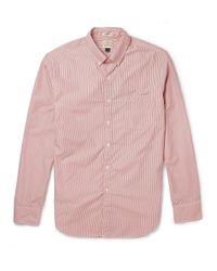 J.Crew | Red Button-Down Collar Striped Washed-Cotton Shirt for Men | Lyst