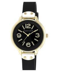 Anne Klein - Black Round Silicone Strap Watch - Lyst