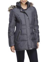 Anne Klein - Gray Faux Fur Trim Hooded Down Puffer Coat - Lyst