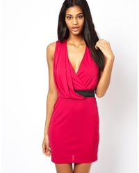 ASOS - Pink Drape Mini Dress With Belt - Lyst
