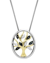 Lord & Taylor | Metallic Sterling Silver 14kt. Yellow Gold And Green Diamond Pendant Necklace | Lyst