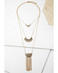 Forever 21 - Metallic Etched Pendant Layered Necklace - Lyst
