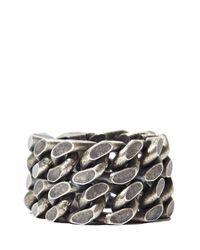Saint Laurent - Metallic Mens Silver Double Chain Ring for Men - Lyst