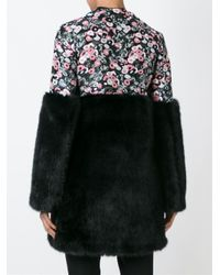Giamba - Black Faux Fur Panel Coat - Lyst