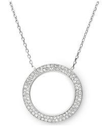 Michael Kors - Metallic Brilliance Silver Pave Pendant Necklace - Lyst