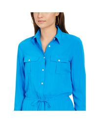 Ralph Lauren - Blue Crop-Sleeved Shirtdress - Lyst